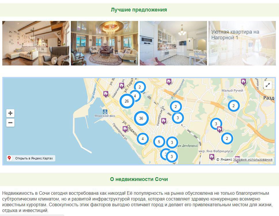Сайт недвижимость Сочи